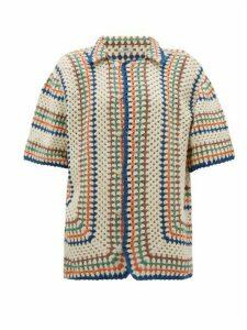 Bode - Striped Crochet-cotton Shirt - Womens - Multi