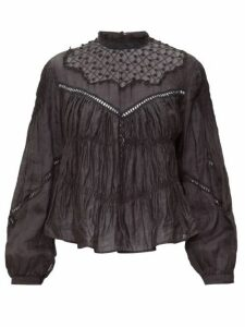 Isabel Marant - Samantha Lace-trimmed Ramie Blouse - Womens - Black