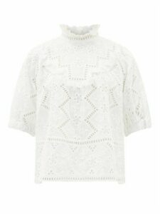 Sea - Zippy Ruffle-neck Broderie-anglaise Blouse - Womens - White