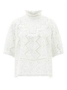 Sea - Zippy Ruffle-neck Broderie-anglaise Blouse - Womens - White