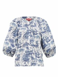 Staud - Dill Balloon-sleeve Tropical-print Cotton Blouse - Womens - Blue White