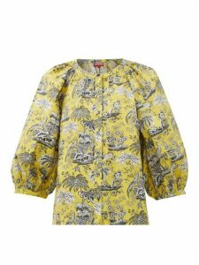 Staud - Dill Tropical-print Cotton-blend Blouse - Womens - Yellow
