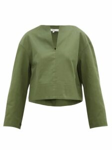 Tibi - Harrison Slit-neck Cotton-twill Blouse - Womens - Green