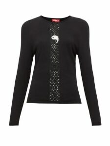 Staud - Crochet-knit Long-sleeve Top - Womens - Black