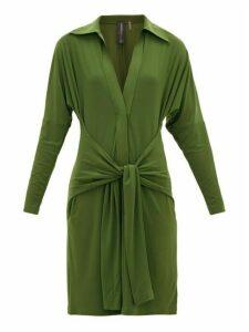 Norma Kamali - Tie-waist Point-collar Jersey Dress - Womens - Khaki