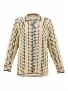 Bode - Striped Crochet Cotton Shirt - Womens - Multi