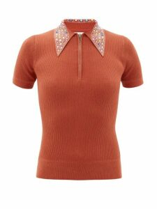 Joostricot - Crystal-collar Cotton-blend Peachskin Polo Shirt - Womens - Brown