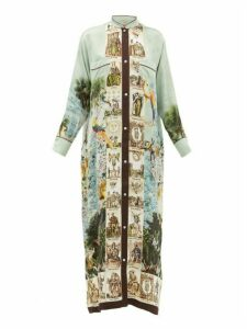 F.r.s - For Restless Sleepers - Galene Coastal-print Hammered-silk Dress - Womens - Light Blue