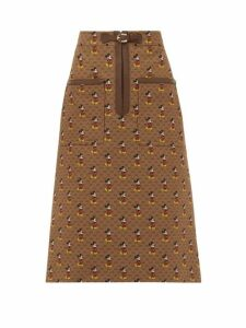 Gucci - Mickey Mouse Twill Pencil Skirt - Womens - Brown