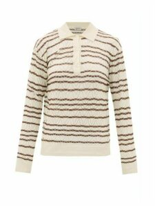 Giuliva Heritage Collection - The Emera Striped Silk-blend Polo Shirt - Womens - Beige