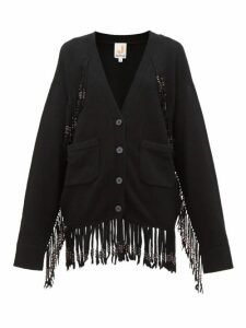 Joostricot - Beaded Fringed Knit Cardigan - Womens - Black