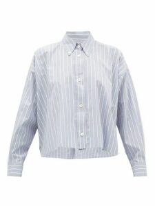 Isabel Marant - Macao Striped Slubbed Cotton-poplin Shirt - Womens - Light Blue