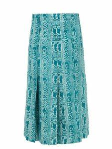 Marni - Belted Moiré-print Silk-twill Midi Skirt - Womens - Green Multi