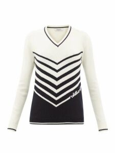 Valentino - Chevron-stripe Wool-blend Sweater - Womens - Ivory Multi