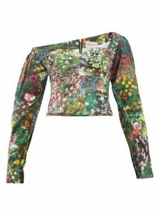 Natasha Zinko - Off-shoulder Floral-print Satin Top - Womens - Multi
