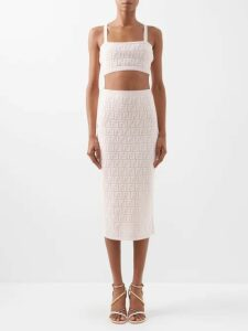 Emilia Wickstead - Petra Belted Leather-effect Midi Dress - Womens - Navy