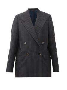 Acne Studios - Janny Double-breasted Striped Wool Jacket - Womens - Navy
