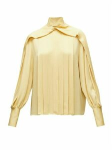 The Row - Gilia Pleated Georgette Blouse - Womens - Light Yellow