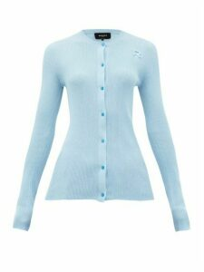 Rochas - Monogram-embroidered Ribbed-cotton Cardigan - Womens - Light Blue