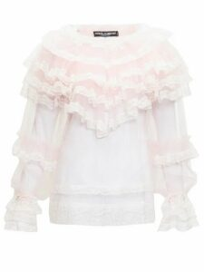 Dolce & Gabbana - Ruffled Chantilly-lace And Tulle Blouse - Womens - Pink Multi