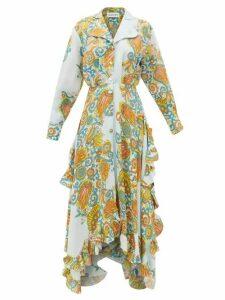 Lanvin - Paisley-print Crepe And Silk-satin Dress - Womens - Blue Print
