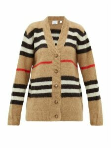 Burberry - Gamtoos Icon Stripe-intarsia Mohair-blend Cardigan - Womens - Beige Multi