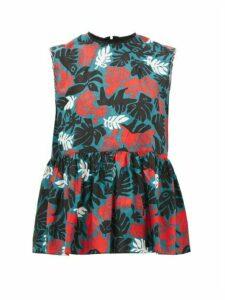 Marni - Leaf-print Peplum Linen-blend Top - Womens - Green Multi