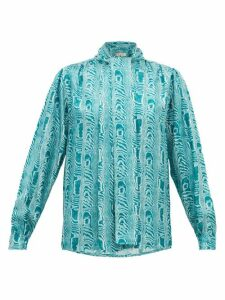 Marni - Neck-tie Moiré-print Silk-twill Blouse - Womens - Green Multi