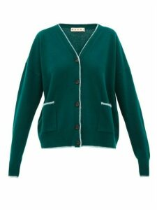 Marni - Contrast-trim Wool-blend Cardigan - Womens - Green Multi