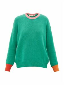 Marni - Colourblock Cashmere Sweater - Womens - Green Multi