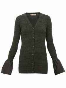 Marni - Ruffled-cuff Ribbed-wool Cardigan - Womens - Grey
