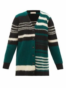 Marni - Striped Ribbed-knit Wool-blend Cardigan - Womens - Green Multi