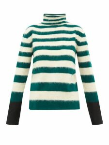 Marni - Striped High-neck Wool-blend Sweater - Womens - Green Stripe