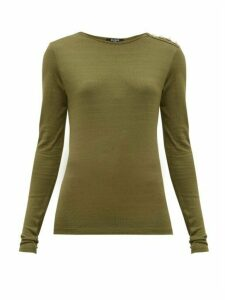 Balmain - Buttoned-shoulder Long-sleeve Top - Womens - Khaki