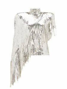 Balmain - Asymmetric-fringe Sequinned Top - Womens - Silver