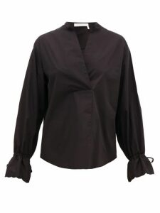 See By Chloé - Collarless V-neck Cotton-poplin Blouse - Womens - Black