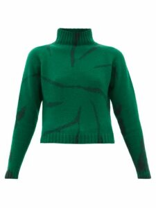 The Elder Statesman - Lightning Cropped Tie-dyed Cashmere Sweater - Womens - Green