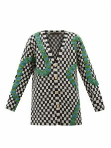 The Elder Statesman - Snake-appliqué Checked Cashmere Cardigan - Womens - Black White