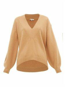 Tibi - V-neck Wool-blend Sweater - Womens - Camel