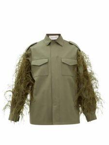 Valentino - Feathered Cotton-gabardine Utility Jacket - Womens - Dark Green