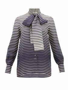 Valentino - Degradé-stripe Silk-twill Blouse - Womens - Navy Stripe