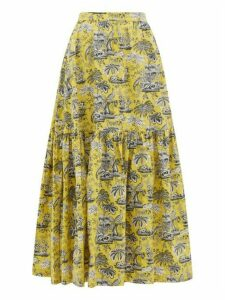 Staud - Orchid Tropical-print Cotton-blend Skirt - Womens - Yellow