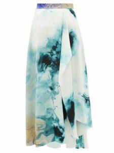 Roksanda - Zinja Swirl-print Silk Midi Skirt - Womens - Beige Print