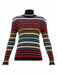 Mary Katrantzou - Striped Lamé Roll-neck Sweater - Womens - Black Multi