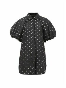 Lee Mathews - Roxie Puffed-sleeve Floral-print Silk Blouse - Womens - Black Print
