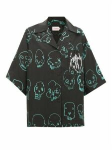 Charles Jeffrey Loverboy - Skull-print Silk Shirt - Womens - Black Multi
