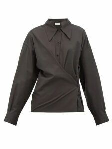 Lemaire - Twisted Cotton-poplin Shirt - Womens - Black