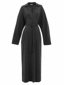 Lemaire - Polo-collar Belted Cotton-jersey Shirtdress - Womens - Navy