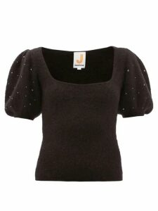 Joostricot - Beaded Puff-sleeve Mohair-blend Sweater - Womens - Black