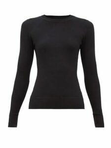 Joostricot - Peachskin Round-neck Cotton-blend Sweater - Womens - Black